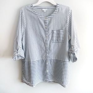 J.Jill Striped Button Down Tab Sleeve Top